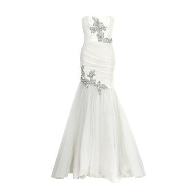 flower beads mermaid dress white
